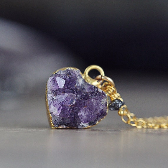 Amethyst Heart Necklace - Rough Diamond Necklace