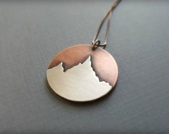 The Peak: Mountain Pendant - Copper and Sterling Silver Mountain Necklace