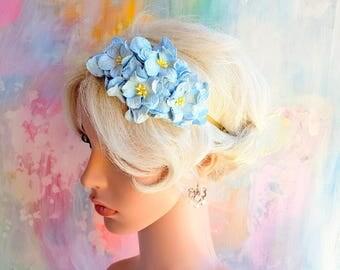 Pale Blue Gardenias Floral Headband Flower Fascinator Vintage Wedding Party Bridal Accessory Bridesmaid statement