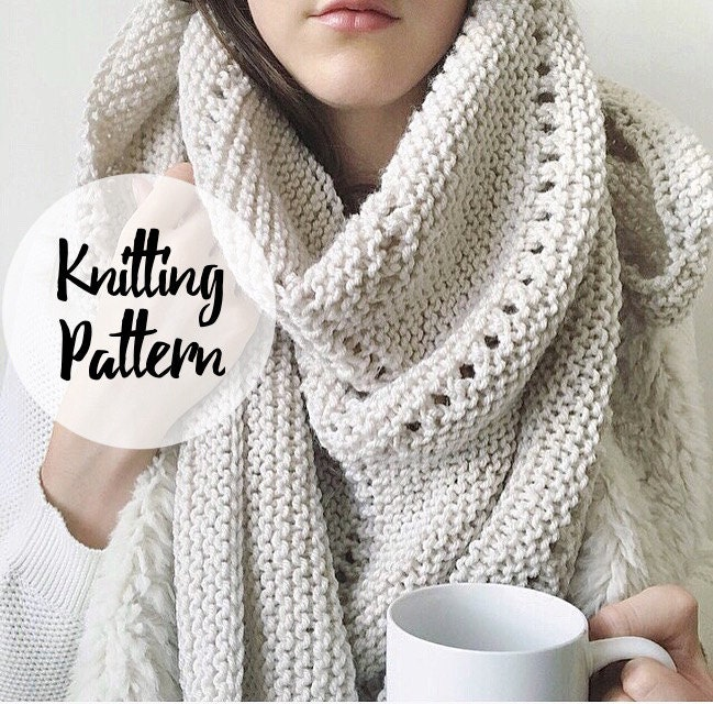 Knitting Patterns For Big Scarves : Big Cozy Big Scarf Knitting Pattern / Triangle by KnittingWonders