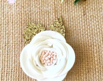 White Felt Flower - Felt Craft Flower Camellia -Felt Flower Brooch - Handmade - DIY - Fashion Accessory - Craft Supplies - Craft Flower
