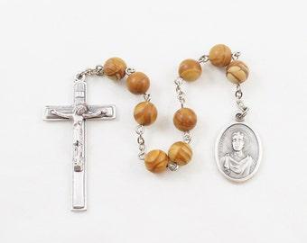 Saint Genesius Chaplet, Tigerskin Jasper Stone Beads, Patron Saint of Actors and Torture Victims - Catholic Chaplet Prayer Beads