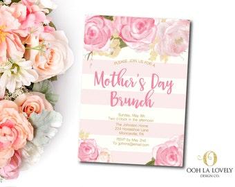 Mother's Day Brunch Invitation, Easter Brunch Invite,  Bridal Shower Invite, Printable Invitation, Floral Pink Roses