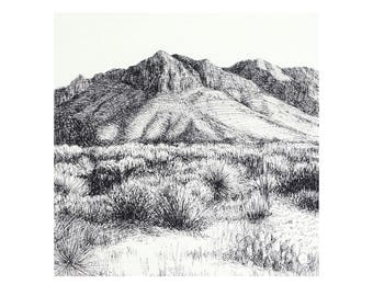 Guadalupe art print, landscape drawing in pen and ink
