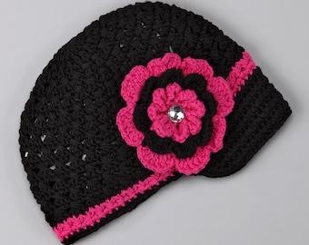 Crochet Newsgirl Beanie with Removable Flower baby hat, toddler hat, flower newsgirl hat, baby beanie, crochet beanie, crochet hat, hat