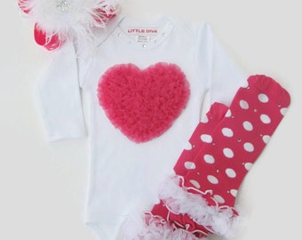 White Bodysuit with Hot Pink Chiffon Heart Valentine Clothing, baby shower gift, newborn baby girl, Valentine onesie, baby clothes, new baby