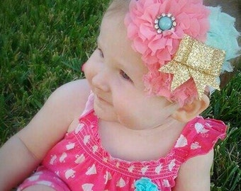 Spring headband, coral and mint headband, glitter bow, glitter bow headband, adjustable headband, gold glitter bow, gold bow headband