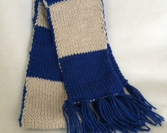 Ravenclaw Blue and Silver Scarf - HP - Geekery - Handmade - Double Knit - Cosplay - Summer - Graduation - Wedding - Teacher Gift