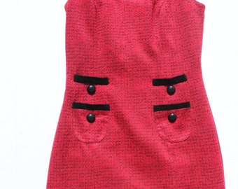 Vintage Shift Dress - Retro Red Black Contrast Dress-pockets-sleeveless short dress fitted -wool tweed mottled-small size womens 8 34 chest