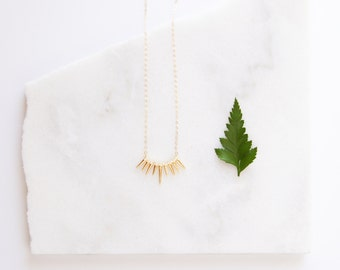 14k Gold Necklaces Crystal Gold Spikes - 14k Gold Necklace
