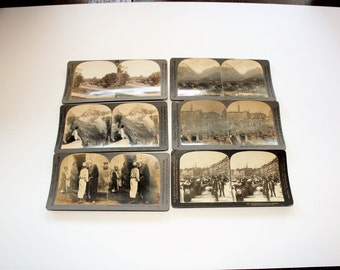 6 Antique Stereoviews Palestine Canada Argentina Denmark Italy Switzerland