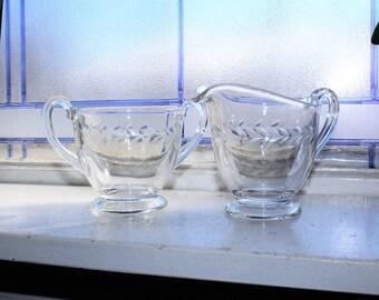 Fostoria Holly Creamer and Sugar Bowl Elegant Glass