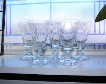 5 Fostoria Wine Glasses Elegant Glass