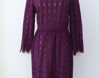 80's Sheer Plaid Wool Dress Light Knit Purple Scarf Fringe Secretary Day Dress L XL