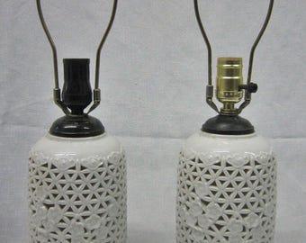Vintage Blanc De Chine Lamps, Pair
