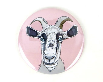 Goat Magnet, goat button, pinback button, refrigerator magnet, goat illustration, farm animal magnet, cute goat button, goat gift