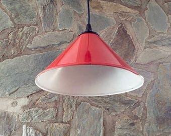Vintage red enameled steel industrial workshop light, industrial lampshade, factory light. For bars, restaurants, shops, home interior.