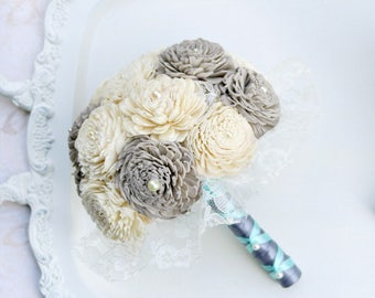 Grey, Cream, Bridal Bouquet // Gray, Wedding Bouquet, Lace Bouquet, Sola Wood Flower Bouquet, Bridesmaid Bouquets, Wedding Flowers, Bouquet