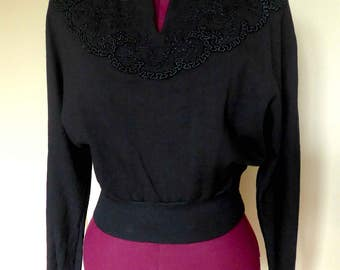 RARE Amazing 1940's 1950's French Vintage Embroided Soutache Black Jersey Knit Sweater Top - Size M-L