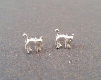 cat, gato, earrings, pendientes de gato, animals, cat earrings,animales, silver earrings