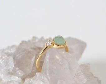 Reina - Aqua Chalcedony on Gold Teardrop Ring