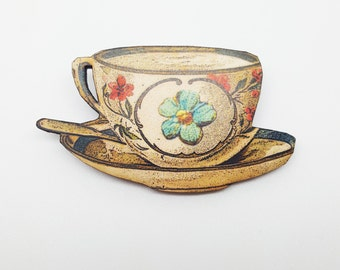 Teacup Alice in Wonderland Tea Party Vintage Afternoon Tea Brooch Pin Badge Jewellery Gift For Her Birthday Present