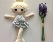 Ready To Ship - Handmade Floral Doll - Blonde Haired Doll - Spring Floral Doll - Baby Gift - Nursery Decor - Valentines Day Gift