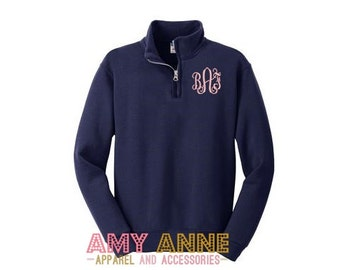 Youth Girls Monogram Quarter Zip Sweatshirt Monogram Pullover Sweatshirt  Great for Gift Ideas Toddler Kids