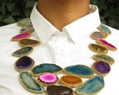 Colorful necklace, bib necklace, agate necklace, multi color necklace, leather necklace, large statement necklace, gift for her