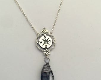 Sterling Silver Rose Compass Grad 2017/ new journey/luck protection necklace/ wanderlust traveler/ gift for her/ Compass Necklace/