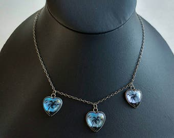 Elegant Sterling Silver Blue Butterfly Wing Triple Heart Necklace w/ Tropical Palm Tree Motif- Delicate Exotic Souvenir Morpho Collectible