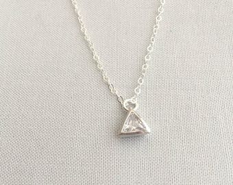 CZ Triangle Necklace | Layering Necklace | Crystal Necklace | Diamond Triangle Necklace | Gift For Her | Minimalist Necklace