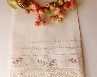 Ivory Hand Towel with Pink Rose Buds and Crocheted Lace