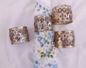 Four Silver Filigree Napkin Rings, Pierced Metal Napkin Rings