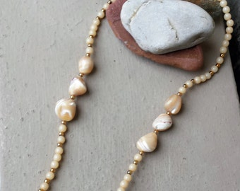Mother of Pearl Ivory Beige Necklace Sea Shell Casual Summer Beach Island Wedding Tropical Island Bride Bridal Jewelry Jewellery
