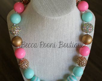 Chunky Pink and Teal Bubblegum Necklace, Bubblegum Necklace, children's chunky necklace, gold and Teal Bubblegum Necklace
