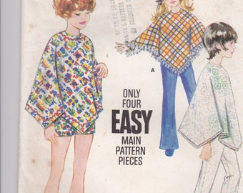 1970's Sewing Pattern - Butterick 5744 Child's Poncho & Pants or Shorts, Size 8, - Cut, Complete