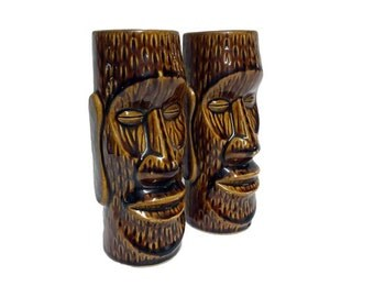 Vintage Orchids of Hawaii Mugs, Easter Island Moai Hawaiian Tiki Bar