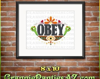 PDF PATTERN ONLY Obey with monsters, eyeball, hearts, flowers - cross stitch sampler