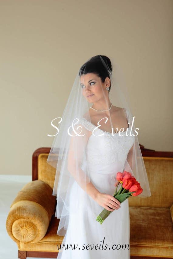 Drop Veil - Raw Edge Wedding Veil with metal comb