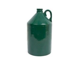Vintage Whiskey Jug Hunter Green Crock Stoneware Moonshine Farmhouse Decor Country Kitchen Porch Pottery Flower Vase Barware Rustic home