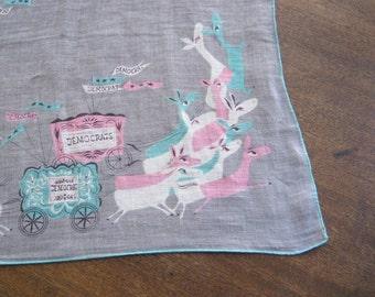 Vintage 1950s Pat Prichard Democrats Hankie - Democratic Party Handkerchief - Grey/Aqua Blue/Pink Novelty Print Hankie; Free Shipping/U.S.