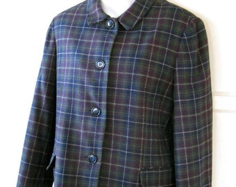 Sage Green, Plum & Navy Plaid Jacket; Small Collar; '60s-'70s Preppy/Collegiate/Office Girl; Outdoorsy Masculine-Feminine