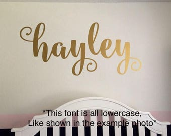 Name Wall Decal Personalized Name Decor Girls Nursery Decal Rustic Cottage Style Name Decal Girls Bedroom Decor Gold Copper Name Lettering