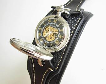 Steampunk Pocket Watch, Wrist Watch, Black