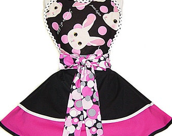 "NEW 2017 Design Collection: Retro Pinup ""Big Head Bunny"" Kawaii Apron; A Tie Me Up Aprons Exclusive!"