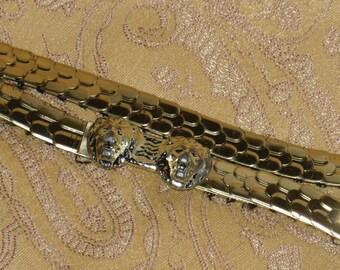 Lion Stretch & Buckle Belt Skinny Fish Scale Silver Tone Vintage