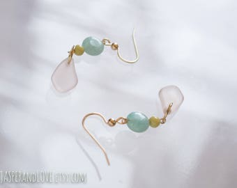 ELLIE blue dangle earrings, color block green and pink and blue quartz drop earrings, gold filled earrings, recycled glass earrings