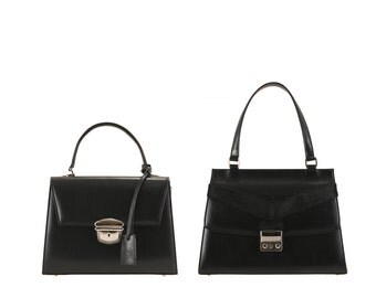 Leather top handle bag JASMIN, JANET // black (Italian calf skin) - FREE shipping, unique bag