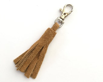 Tan Suede Leather Tassel Keychain Clasp